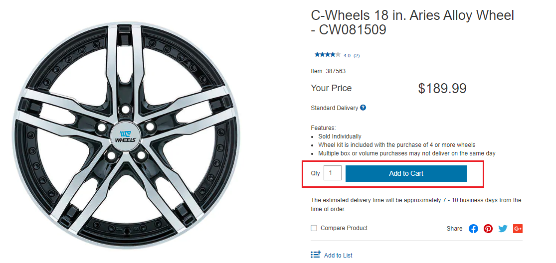Costco.ca image to select the right quantity of wheel you want to purchase.