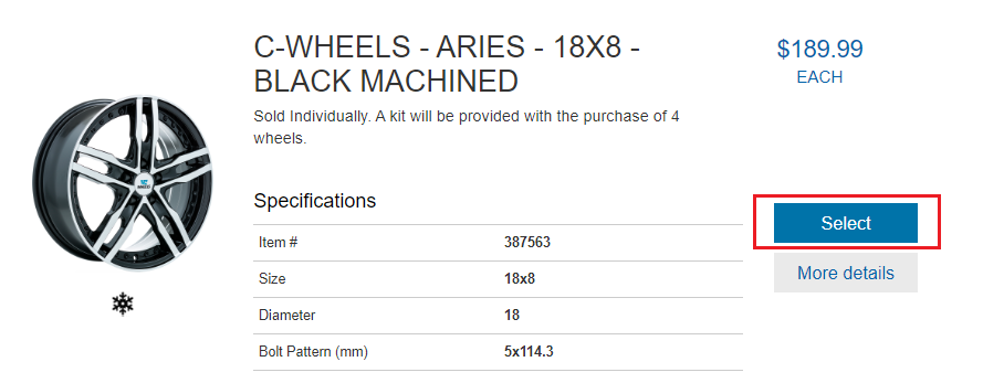 Basic product information of a particular wheel. Click the select button to add a wheel to your cart.