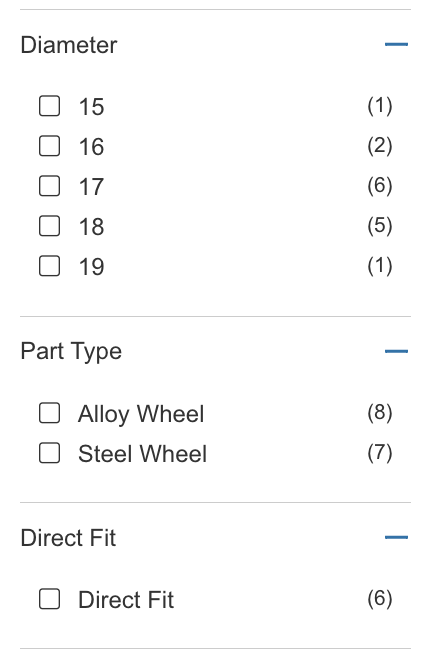 Screen shot of some filters opened : diameter, part type, direct fit that we can select by clicking on the empty checkbox.